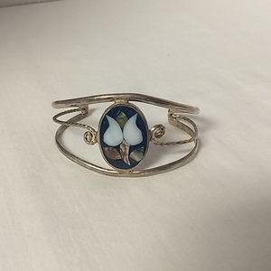 Mother of Pearl Sterling Cuff Bracelet